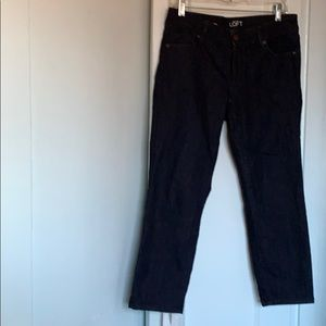Ann Taylor Loft dark blue modern crop denim jeans